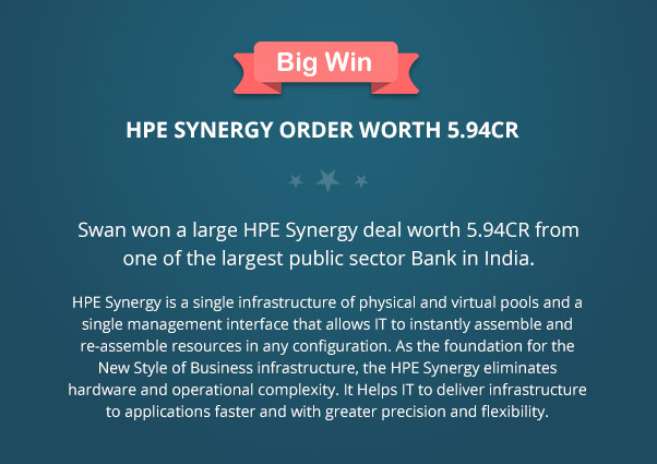 Big Win, Swan won a large HPE Synergy deal worth 5.94CR from one of the largest public sector Bank in India. HPE Synergy is a single infrastructure of physical and virtual pools and a single management interface that allows IT to instantly assemble and re-assemble resources in any configuration. As the foundation for the New Style of Business infrastructure, the HPE Synergy eliminates hardware and operational complexity. It Helps IT to deliver infrastructure to applications faster and with greater precision and flexibility.