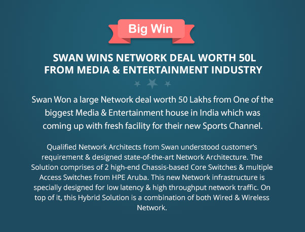 Swan Won a large Network deal worth 50 Lakhs from One of the biggest Media & Entertainment house in India which was coming up with fresh facility for their new Sport Channel. Qualified Network Architects from Swan understood customer's requirement & designed state-of-the-art Network Architecture. The Solution comprises of 2 high-end Chassis-based Core Switches & multiple Access Switches from HPE Aruba. This new Network infrastructure is specially designed for low latency & high throughput network traffic. On top of it, this Hybrid Solution is a combination of both Wired & Wireless Network.