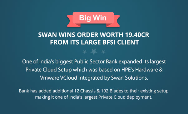 Swan Wins order Worth 19.40CR from its Large BFSI Client