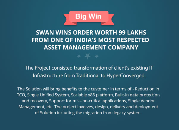 Swan Wins Order Worth 99 Lakhs from one of India's most respected Asset Management Company