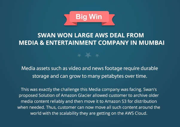 Swan won large AWS deal from Media & Entertainment Company in Mumbai