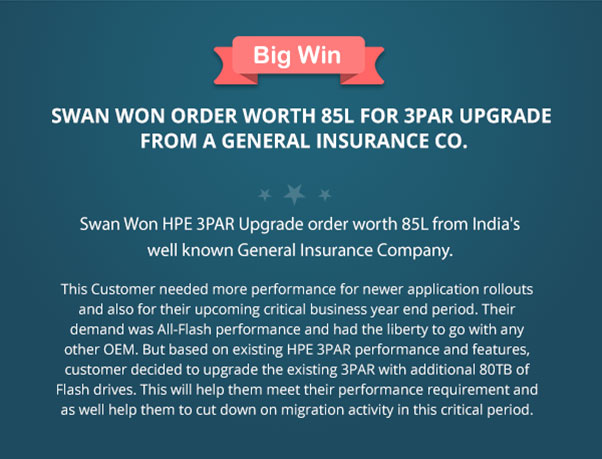 Swan Won Order Worth 85L for 3PAR Upgrade from a General Insurance Co.
