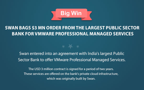 Swan Bags $3 Mn Order from the largest Public sector bank for VMware Professional Managed Services