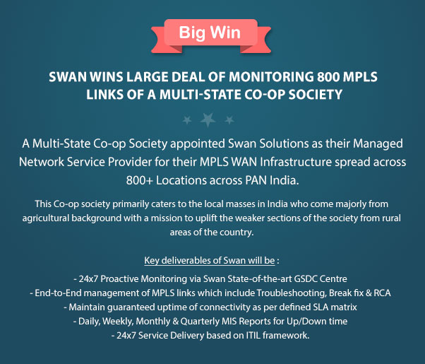 Swan Wins Large Deal of Monitoring 800 MPLS Links of a Multi-State Co-op Society