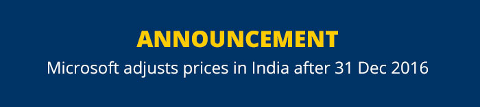 ANNOUNCEMENT  Microsoft adjusts prices in India after 31 Dec 20